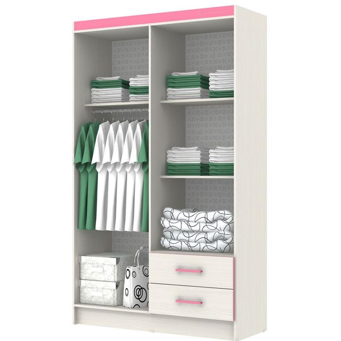 Guarda Roupa Infantil Móveis Primavera New Kids 4 Portas 2 Gavetas Rovere/Pink