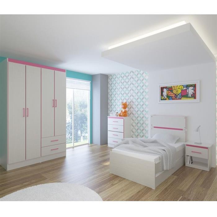 Criado Mudo Infantil Móveis Primavera New Kids KM901 1 Gaveta Rovere/Pink