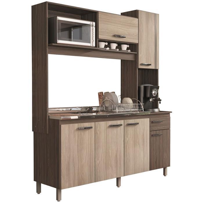 Cozinha Compacta Móveis Sul Ariana 4576 6 Portas 1 Gaveta Palermo/Aspen