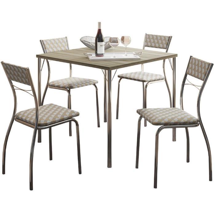 Conjunto Carraro Mesa 1545 Aço com 4 Cadeiras 1701 Cromada