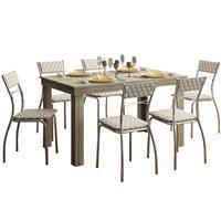 Conjunto Carraro Mesa 1543 com 6 Cadeiras 1701 MDP Estofada