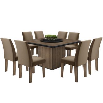 Conjunto Movale Mesa Amsterdam com 8 cadeiras Sienna Estofadas