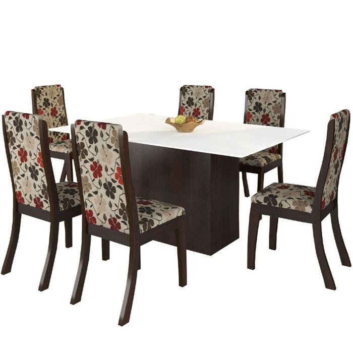 Conjunto Viero Mesa Glan com Tampo de Vidro com 6 Cadeiras Click B56 MDF e MDP