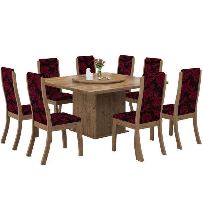 Conjunto Viero Mesa Mônaco MDP com 8 Cadeiras Click Estofada