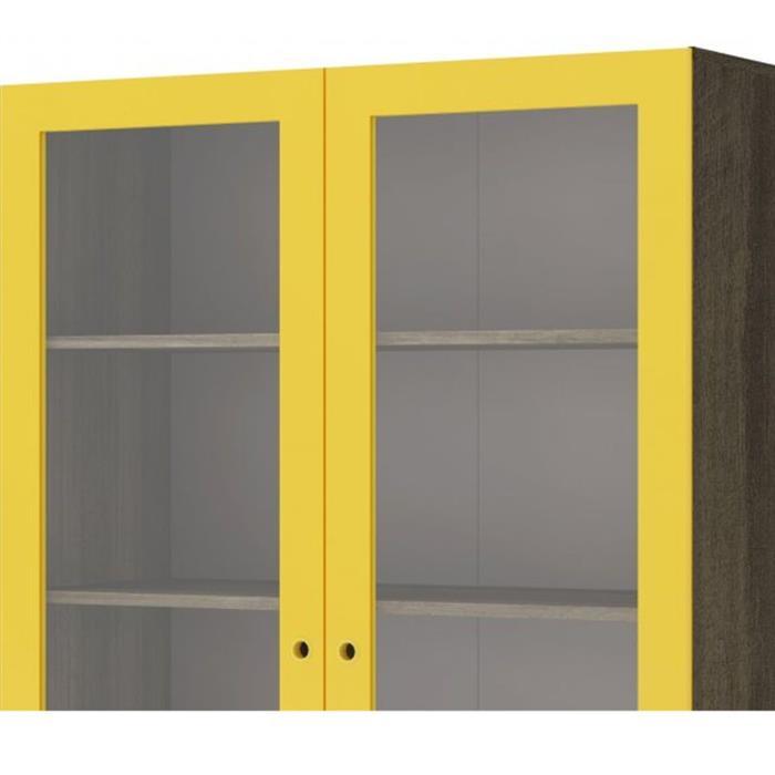 Cristaleira GenialFlex 808 2 Portas com Vidro Demolição/Amarelo