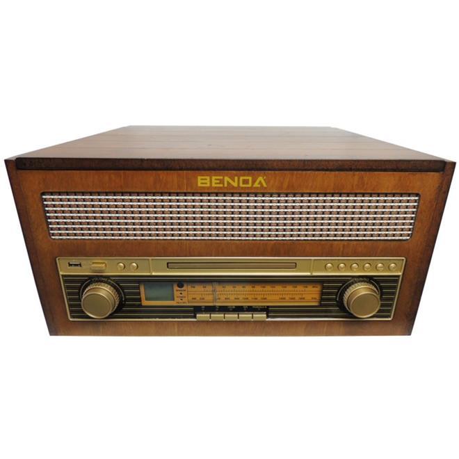 Rádio Retrô Benoá TR-W282A AM FM USB MP3 CD Toca Discos