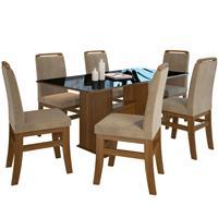 Conjunto Zamarchi Mesa 123.6 Madeira e Vidro com 6 Cadeiras 16 Cacau Pena Suede