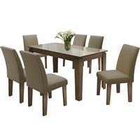 Conjunto Movale Mesa Siena com Tampo de MDF e Vidro com 6 Cadeiras Siena Castor 84 Estofada