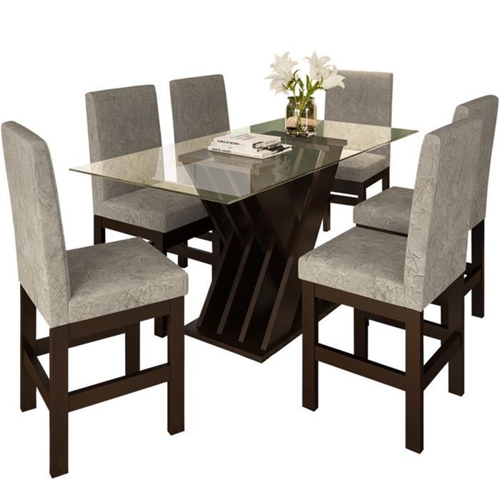 Conjunto Zamarchi Mesa 114 Bella com Tampo de Vidro com 6 Cadeiras 14 Suede Estofada