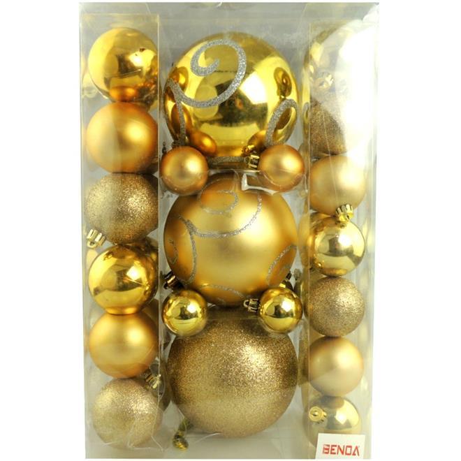 Bolinhas de Natal Benoá AR3/JT076/G com 37 Unidades Dourado