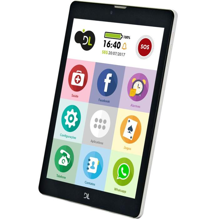 "Tablet DL TabFácil Tela 7.85"" 3GB Bluetooth Android 7"