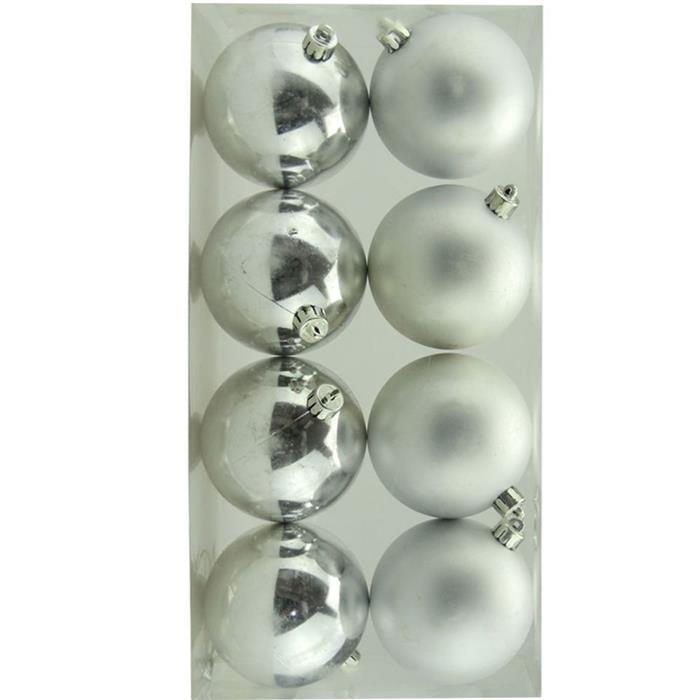 Bolinhas de Natal Benoá AR3/8008AB/S com 8 Unidades Prata