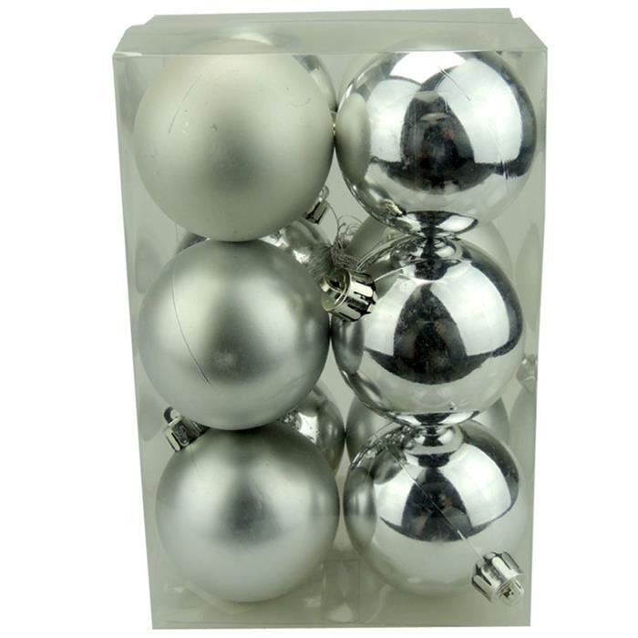 Bolinhas de Natal Benoá AR3/6012AB/S com 12 Unidades Prata