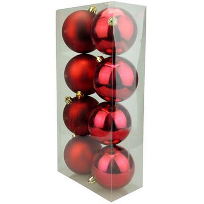 Bolinhas de Natal Benoá AR3/8008AB/R com 8 Unidades Vermelho