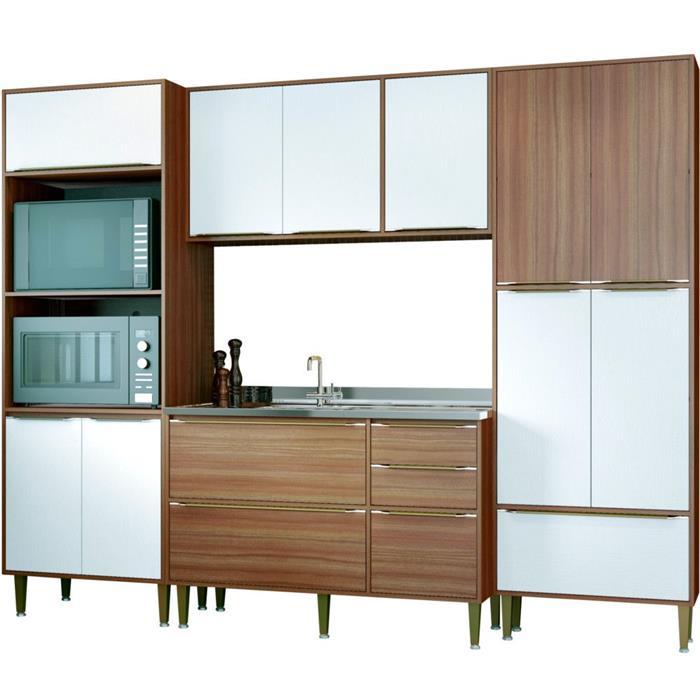 Cozinha Completa Multimóveis Calabria 13 Portas 3 Gavetas 4 Peças Nogueira/Branco