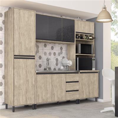 Cozinha Completa Móveis Sul Ibiza MDP 7 Portas 3 Gavetas 4 Peças