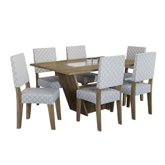 Conjunto Kappesberg Mesa CSJ012 MDP com 6 Cadeiras 2CAD106 C007 MDF Estofada