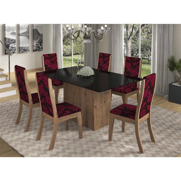 Conjunto Viero Mesa Glan Tampo de Vidro com 6 Cadeiras Click Estofada