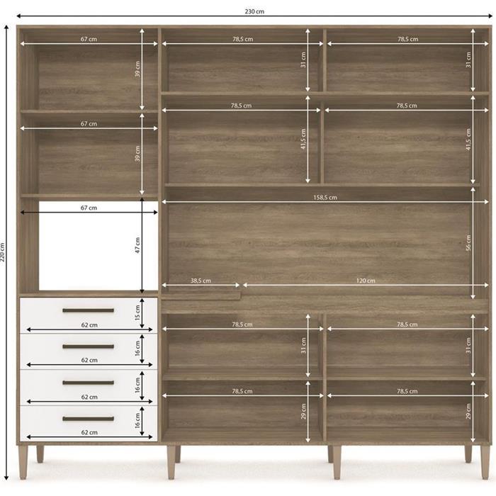 Cozinha Compacta Kappesberg G780 9 Portas 4 Gavetas Nogal/Branco