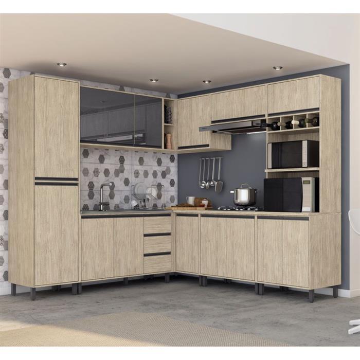 Cozinha Completa Móveis Sul Pérola Ibiza MDP 12 Portas 3 Gavetas 8 Peças