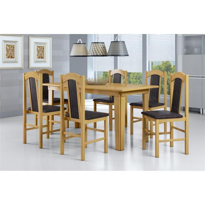 Conjunto Canção Mesa 10302 MDF com 6 Cadeiras Colonial Estofadas 500 MDF