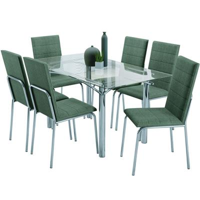 Conjunto Kappesberg Mesa CMC230 Tampo de Vidro com 6 Cadeiras CO91CR Corino Cromada