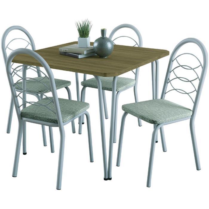 Conjunto Kappesberg Mesa F090 MDP com 4 Cadeiras Holanda C009BRF Corino