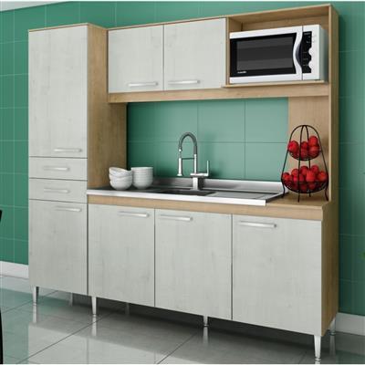 Cozinha Compacta Gralar Maravilha MDP 7 Portas 2 Gavetas Nogueira/Snow