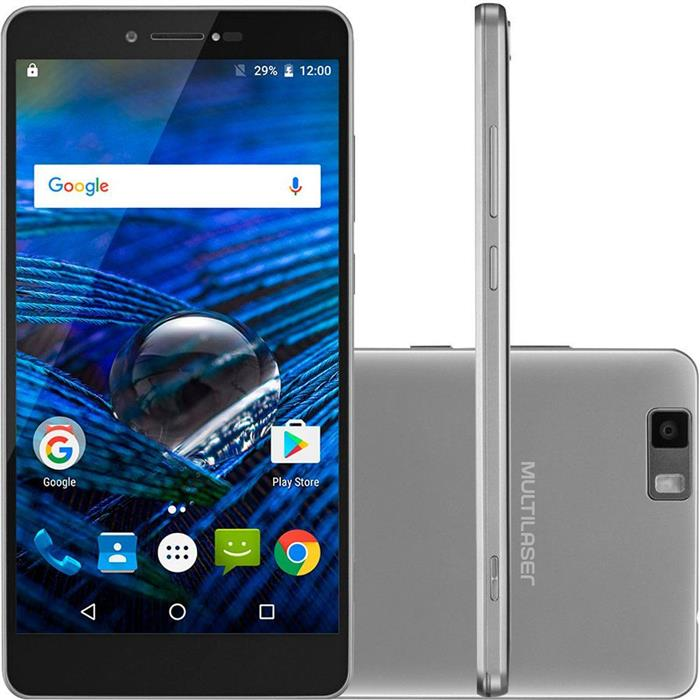 """Smartphone Multilaser MS70 Android 6.0 Tela 5.85"""" 32GB 3GB RAM Câm 16MP + Frontal 8MP Octacore"""