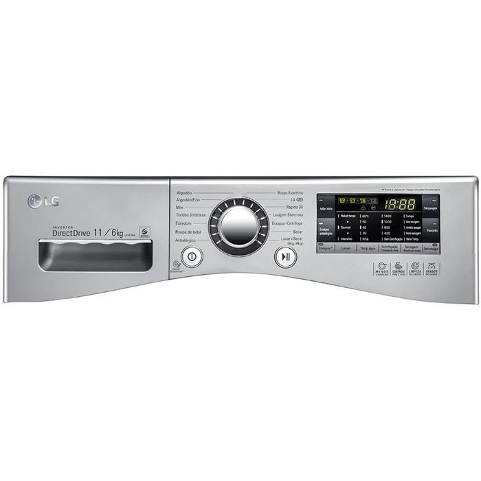 Lava e Seca LG Prime Touch WD11EP6A 11kg Aço Escovado