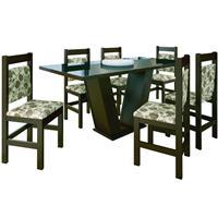 Conjunto Zamarchi Mesa 127 Vidro MDP com 6 Cadeiras 17 Floral 2 Estofada