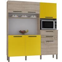 Cozinha Compacta Kits Paraná Montesa MDP 6 Portas 2 Gavetas Nogal/Amarelo