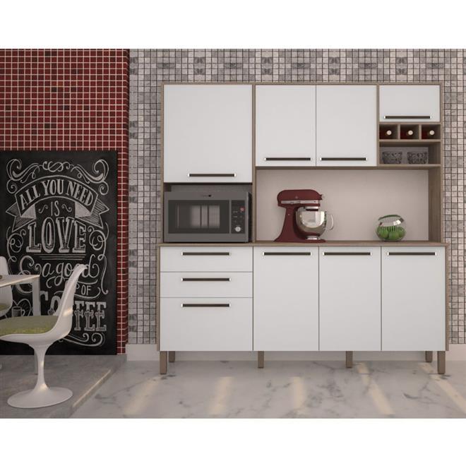Cozinha Compacta Kits Paraná Agata MDP 8 Portas 2 Gavetas Nogal/Branco