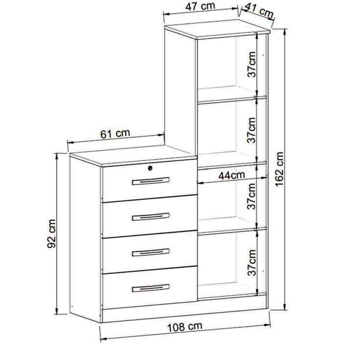 Cômoda GenialFlex 645 1 Porta 4 Gavetas com Espelho