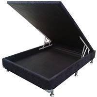 Base Box Ortobom Camurça Nero com Baú 138x188x25cm