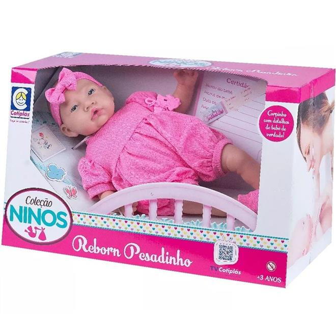 Boneca Cotiplas Reborn Pesadinho Ninos 2180 com Chupeta