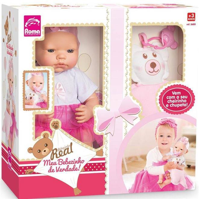Boneca Roma Bebezinho Real 5680 com Ursinho