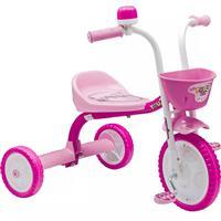 Triciclo Nathor You3 Girl Feminino Rosa com Cestinha Buzina