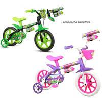 e2b5bb7b7 Kit 2 Bicicletas Infantil Nathor Aro 12 Black + Violet